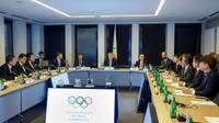 Réunion au siège du Comité international olympique à Lausanne, entre le CIO et des responsables nord et sud-coréens en vue d'une équipe coréenne unifiée aux JO de Tokyo-2020, le 15 février 2019  [SALVATORE DI NOLFI / POOL/AFP]