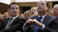 François Hollande et Manuel Valls, à la maison de la Chimie, à Paris, le 28 avril 2014 [Yoan Valat / POOL/AFP/Archives]