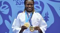 Clarisse Agbegnenou championne d'Europe des -63 kg, à Minsk, en Biélorussie, le 23 juin 2019 [Sergei GAPON                 / AFP/Archives]