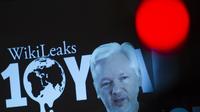 Le fondateur de WikiLeaks, Julian Assange, en vidéoconférence à Berlin, en octobre 2016.