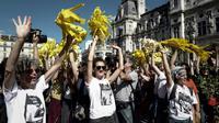 Des manifestants pour la lutte contre le dérèglement climatique, le 8 septembre 2018 à Paris [Philippe LOPEZ / AFP]