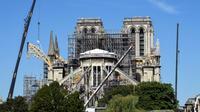 Des échafaudages sur le chantier de reconstruction de Notre-Dame, le 9 juillet 2019 à Paris [BERTRAND GUAY / AFP/Archives]