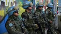 Des soldats brésiliens membres de la mission de l'ONU Minustah à Haïti, le 27 mars 2017 à Port-au-Prince [HECTOR RETAMAL / AFP/Archives]