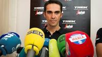 Alberto Contador (Trek) en conférence de presse à Nîmes, le 18 août 2017 à la veille du départ de la 22e édition de la Vuelta [JAIME REINA / AFP]