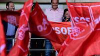 Le Premier ministre socialiste espagnol  Pedro Sanchez lors d'un meeting électoral à Madrid le 28 avril 2019 à l'issue des élections législatives en Espagne [JAVIER SORIANO / AFP]