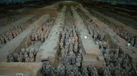 L'armée de terracotta, le 21 octobre 2016 à Xian, découverte en 1974, est composée de 8.000 soldats destinés à protéger le premier empereur chinois Qin Shihuang dans l'au-delà [- / AFP/Archives]