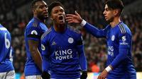 Demarai Gray (c) exulte après son but pour Leicester face à West Ham, le 28 décembre 2019 au London Stadium [Ben STANSALL / AFP]