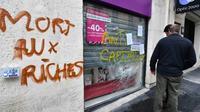 Après une manifestation à Montpellier contre la politique du président Emmanuel Macron, le 14 avril 2018 [Pascal GUYOT / AFP]