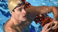 Camille Lacourt à l'issue de sa série du 100 m dos aux Championnats de France de natation à Montpellier, le 2 avril 2016 [PASCAL GUYOT / AFP]