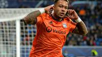 L'attaquant de Lyon Memphis Depay vient de marquer contre Hoffenheim en Ligue des champions, le 23 octobre 2018 à Sinsheim (Allemagne)  [Thomas KIENZLE                       / AFP]