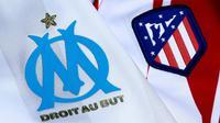 Les maillots de l'Olympique de Marseille et de l'Atlético Madrid, le 15 mai 2018 [Benjamin CREMEL / AFP]