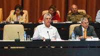 Le président cubain Miguel Díaz-Canel (c) à l'Assemblée nationale, le 21 juillet 2018 à La Havane [Jorge BELTRAN / AFP]