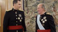 Le roi d'Espagne Felipe ( à gauche) et son père Juan Carlos à la cérémonie de la ceinture de Capitaine général des Armées au palais de la Zarzuela, à Madrid le 19 juin 2014 [Zipi / Pool/AFP/Archives]