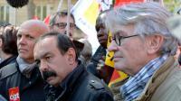 Le secrétaire général de la CGT Philippe Martinez (g) et de Force Ouvrière  Jean-Claude Mailly (d), lors d'un défilé le 1er mai 2016 à Paris [MIGUEL MEDINA / AFP/Archives]