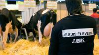 Un éleveur dénonce les difficiles conditions de sa profession, au Salon de l'agriculture le 29 février 2016 [Geoffroy Van der Hasselt / AFP]