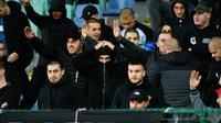 Supporters bulgares dans les  tribunes lors du match contre l'Angleterre en qualifs pour l'Euro-2020 de football, le 14 octobre 2019 à Sofia [NIKOLAY DOYCHINOV / AFP/Archives]