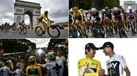 Montage de photos prises lors de la 21e et dernière étape du Tour de France, remporté par Geraint Thomas, le 29 juillet 2018 [Jeff PACHOUD, Marco BERTORELLO, Philippe LOPEZ / AFP]