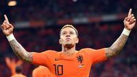 L'attaquant des Pays-Bas Memphis Depay buteur lors de la victoire face à l'Allemagne 3-0 à Amsterdam en Ligue des nations le 13 octobre 2018 [EMMANUEL DUNAND / AFP]