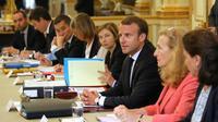 Emmanuel Macron s'exprime en conseil des ministres le 5 septembre 2018 [LUDOVIC MARIN / POOL/AFP]