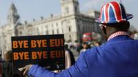 Un militant pro-Brexit manifeste devant le Parlement à Londres, le 28 mars 2019 [Tolga AKMEN / AFP]