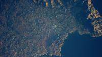 Le Stade Vélodrome et Marseille vus depuis la Station spatiale internationale