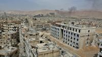 Vue de la ville de Douma dans la Ghouta orientale, le 17 avril 2018 [STRINGER / AFP]