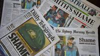 Unes de journaux australiens sur le scandale de balle trafiquée dans le cricket, le 26 mars 2018 à Sydney [Peter PARKS / AFP]