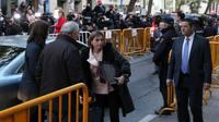 La présidente indépendantiste du Parlement régional de Catalogne Carme Forcadell arrive à la Cour suprême de Madrdi, le 9 novembre 2017 [STR / AFP]