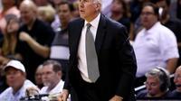Le manager des San Antonio Spurs Gregg Popovich lors des finales NBA contre le Heat de Miami, le 15 juin 2014 [Andy Lyons / Getty/AFP/Archives]