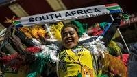 Une sympathisante de l'ANC pendant un meeting électoral à Johannesburg, le 5 mai 2019 [MARCO LONGARI / AFP]