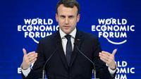 Emmanuel Macron à Davos en Suisse le 24 janvier 2018 [Fabrice COFFRINI / AFP]