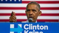 Le président américain Barack Obama lors d'un meeting de soutien à Hillary Clinton, le 20 octobre 2016 à Miami, en Floride [JIM WATSON / AFP]