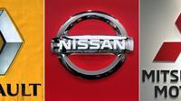 Combo des logos de Renault SA, Nissan Motor et Mitsubishi Motors  réalisé à Tokyo le 23 novembre 2018 [Kazuhiro NOGI / AFP/Archives]
