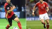 Montage de photos de l'attaquant belge Eden Hazard, le 13 juin 2016 à Lyon, et du footballeur écossais Gareth Bale, le 20 juin 2016 à Toulouse, au cours de l'Euro 2016 qui se déroule en France [Emmanuel DUNAND, Martin BUREAU / AFP/Archives]