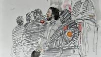 Un croquis d'audience  représente Salah Abdeslam, attendant le début de son procès au Palais de Justice de Bruxelles, le 5 février 2018 [Benoit PEYRUCQ / AFP/Archives]