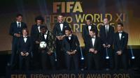 Le 11 Fifa/Fifpro 2015 (manque Neuer, en stage au Qatar avec le Bayern), le 11 janvier 2016 à Zurich [OLIVIER MORIN / AFP]