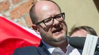 Le maire de Gdansk, Pawel Adamowicz, lors d'une manifestation antifasciste à Gdansk (nord de la Pologne) le 21 avril 2018 [Simon Krawczyk / AFP]