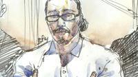 Un croquis d'audience représentant Jawad Bendaoud, au palais de  Justice de Paris, le 24 janvier 2018 [Benoit PEYRUCQ / AFP/Archives]
