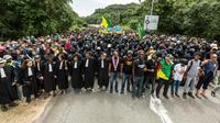 Manifestation aux abords du centre spatial de Kourou, en Guyane, le 4 avril 2017 [jody amiet / AFP/Archives]