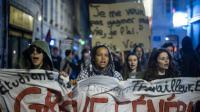 Manifestation de jeunes le 14 avril 2016 à Besancon  [Sebastien Bozon / AFP]