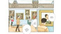 """Une case de la nouvelle bande dessinée de Jirô Taniguchi """"Les gardiens du Louvre""""."""