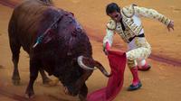 Le matador Juan José Padilla, lors d'une corrida, le 21 avril 2018.