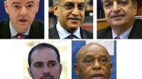 Les 5 candidats à la présidence de la Fifa (g à d) Gianni Infantino, Cheikh Salman, Jérôme Champagne,  Prince Ali et Tokyo Sexwale [- / AFP]