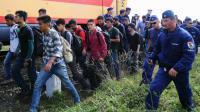 Des réfugiés escortés vers un train par des policiers le 8 septembre 2015 près de Szeged à la frontière de la Serbie et de la Hongrie [ATTILA KISBENEDEK / AFP]