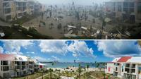 Photos de l'hôtel Mercure de l'île de St-Martin dans la baie Nettlé à Marigot, dans les Caraïbes, après le passage de l'ouragan Irma le 6 septembre 2017 et après sa reconstruction partielle le 28 février 2018 [LIONEL CHAMOISEAU / AFP/Archives]