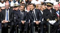 De gauche à droite: Jean-Michel Blanquer, Nicolas Sarkozy, Emmanuel Macron et le préfet de Savoie Pierre Lambert lors de la cérémonie d'hommage aux résistants des Glières, le 31 mars 2019 à Thônes [ludovic MARIN / POOL/AFP]