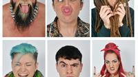 Combinaison de photos de modèles photographiés pendant un casting de l'agence Ugly Models à Londres le 25 janvier 2018 [BEN STANSALL / AFP/Archives]