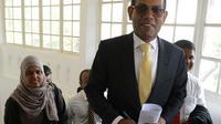 L'ex-président des Maldives Mohamed Nasheed (c), le 22 janvier 2018 à Colombo, au Sri Lanka [LAKRUWAN WANNIARACHCHI / AFP/Archives]
