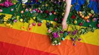 Manifestation en juin 2017 devant l'ambassade de Russie à Londres pour dénoncer le sort des homosexuels en Tchéchénie [Justin TALLIS / AFP/Archives]