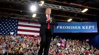 Le président américain Donald Trump lors d'une réunion publique à Great Falls, le 5 juillet 2018 dans le Montana [JIM WATSON / AFP/Archives]